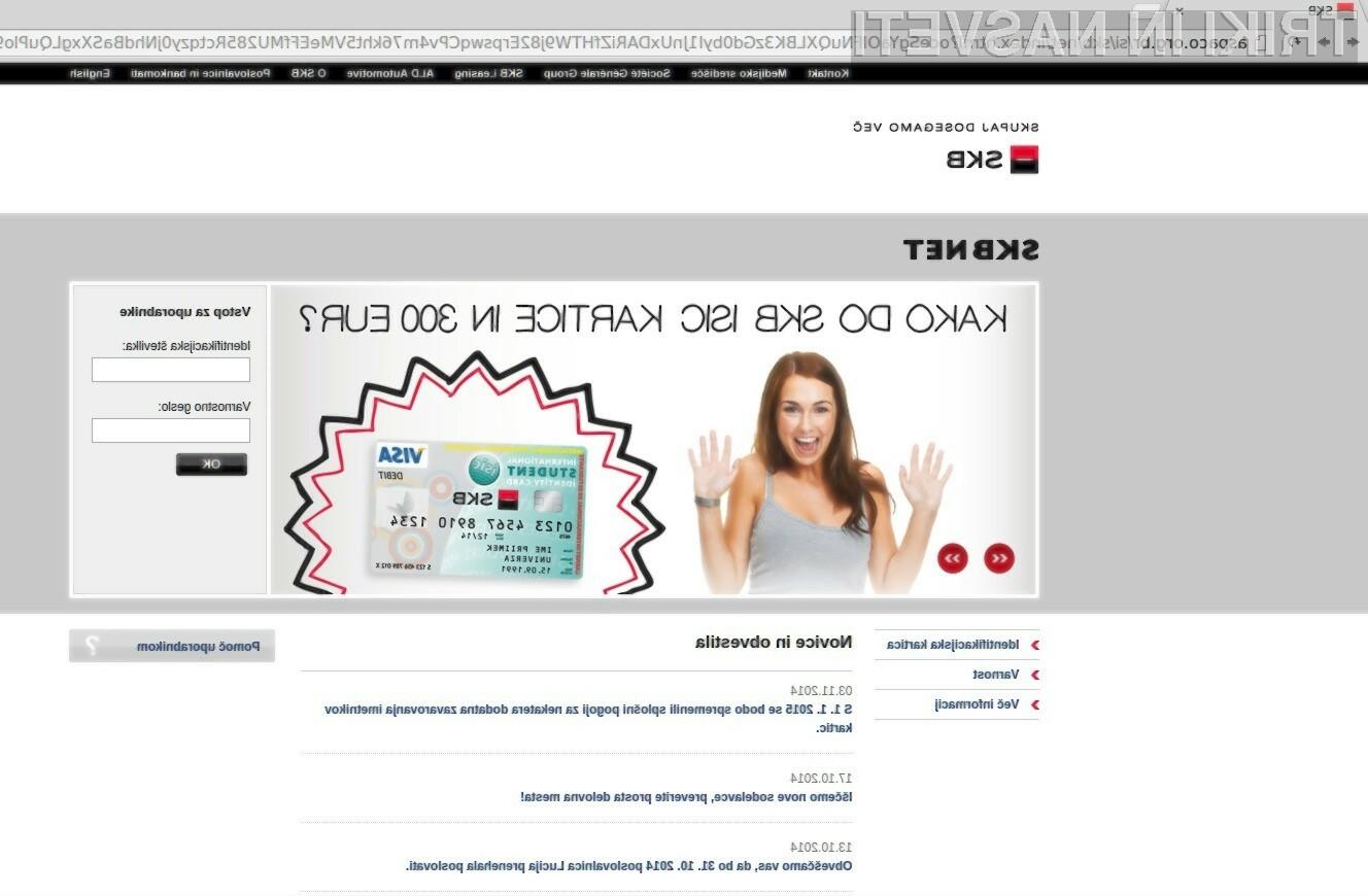 Lažna spletna stran »SKB Banke«.