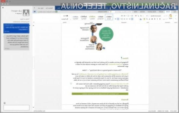 V oblačni pisarniški paket Office vgrajen Skype bo opazno povečal storilnost, saj bodo vsa potrebna orodja vedno na dosegu roke.