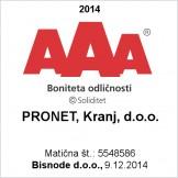 PRONET Kranj med 1,6% pravnih subjektov v Sloveniji z bonitetno oceno AAA