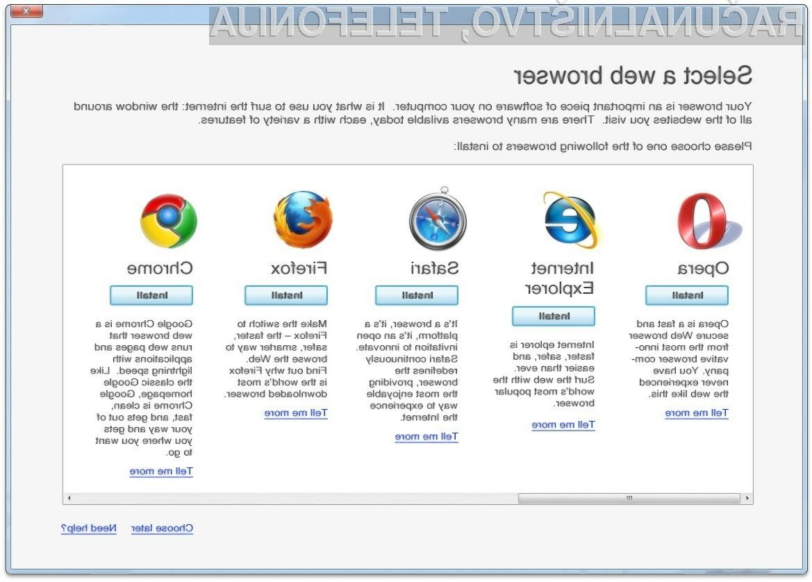 Microsoft uporabnikom operacijskih sistemov Windows ni več dolžna ponujati okna za izbiro konkurenčnega brskalnika!
