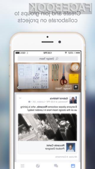 Mobilni Facebook za poslovna okolja lahko uporabljajo le tisti, ki so registrirali Facebookov profil pri delodajalcu.