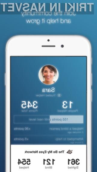 """Mobilna programska oprema """"Be My Eyes"""" bo znatno povečala kakovost življenja slepim in slabovidnim."""