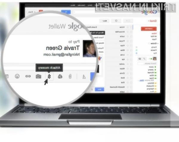 Elektronski poštni predal Google Gmail bomo kmalu lahko uporabljali tudi za pošiljanje denarja.
