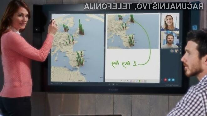 Gigantski tablični računalnik Microsoft Surface Hub bo kot nalašč za podjetja in izobraževalne ustanove.