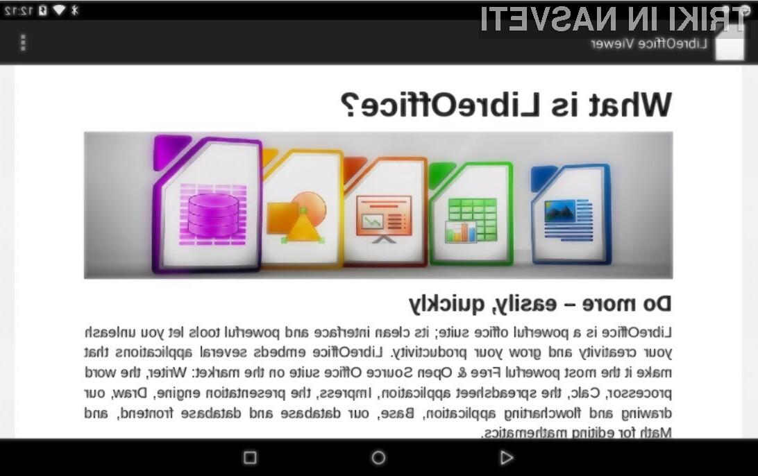 Pisarniški paket LibreOffice je odslej na voljo tudi uporabnikom mobilnih naprav Android.