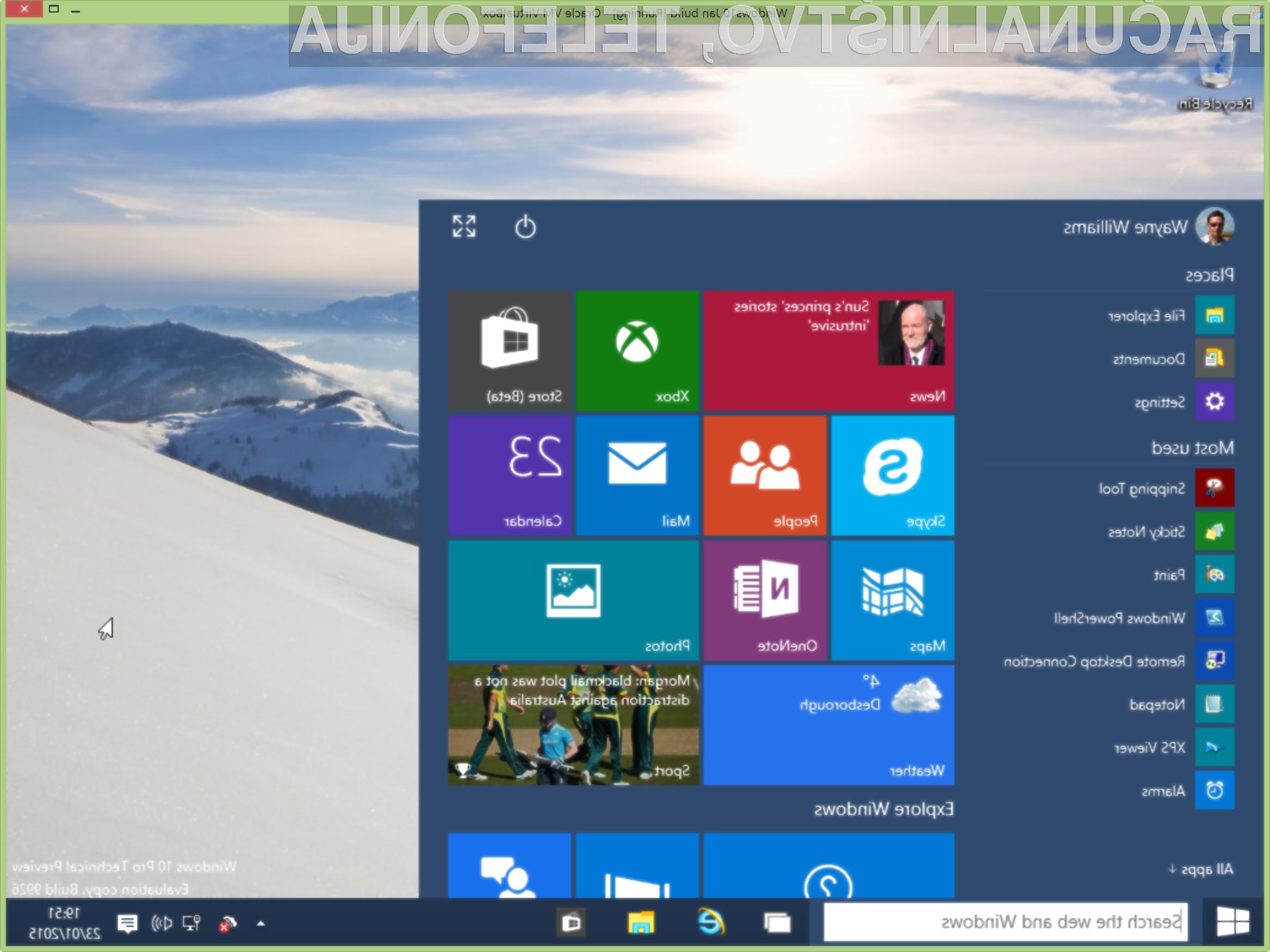 Razvoj operacijskega sistema Windows 10 naj bi bil dokončan že konec letošnjega junija!