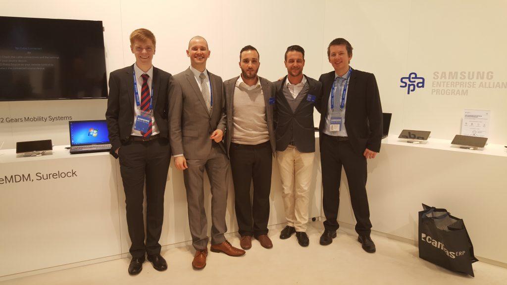 Ekipa ISL Online na CeBITu. Z leve proti desni: Joe Webster, ISL Online UK, Mitja Vavpotič, XLAB, Alessandro Rizzo and Tobias Stucki, ISL Online Switzerland, Jure Pompe, XLAB