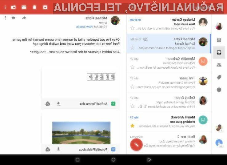 Novi odjemalec elektronske pošte Gmail za Android prinaša bogato paleto novosti!