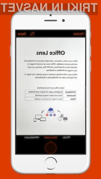 Programska oprema Office Lens se odlično prilega mobilnim napravam iOS.