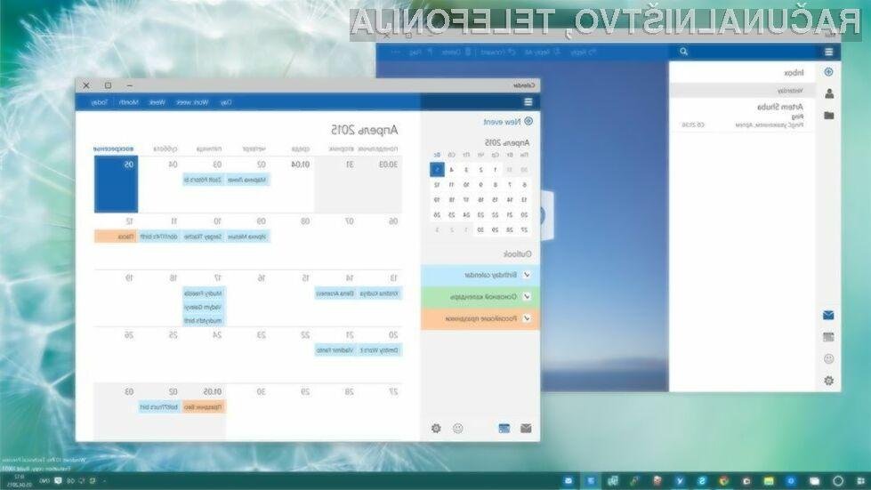 Novi koledar in pošta za Windows 10 prinašata nov in poenostavljen uporabniški vmesnik, vključno z bogato paleto novih možnosti.