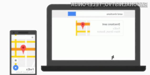 Google odslej z možnostjo pošiljanja naslovov na mobilne naprave Android