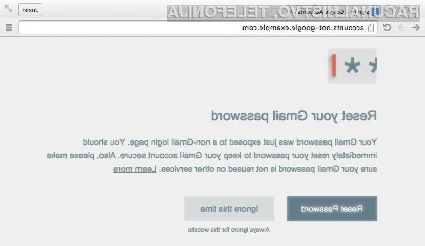 Googlovo namensko orodje opozarja na lažne spletne strani, ki nam želijo ukrasti Googlov uporabniški račun in geslo.