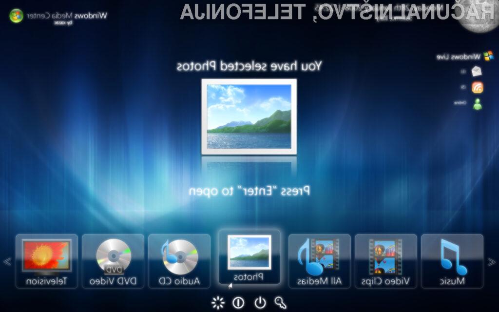 Večpredstavnostnega programa Windows Media Center ne bo mogoče namestiti v Windowse 10.