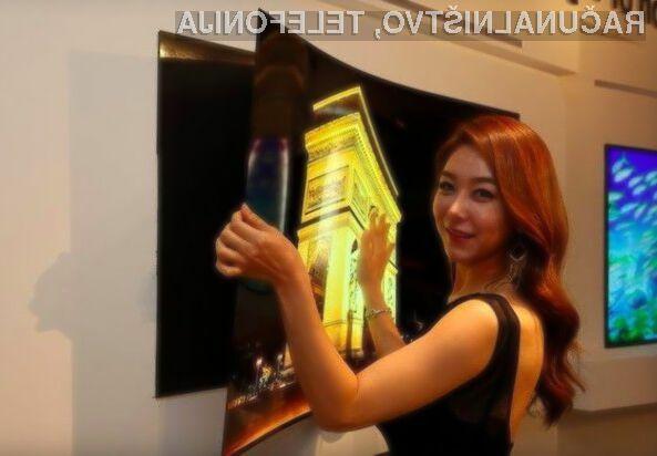 Televizor OLED podjetja LG Electronics v debelino meri le 0,97 milimetra.