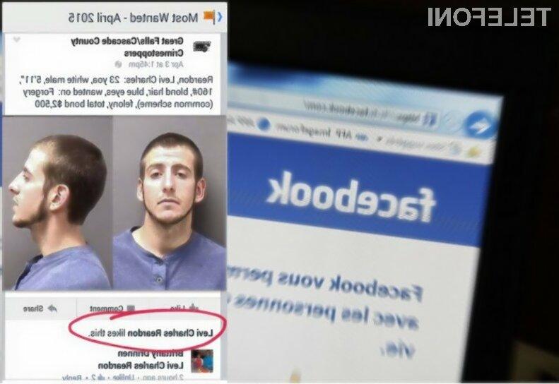Všeček na Facebooku je bil tokrat »usoden« za 23-letnega kriminalca Levisa Charlesa Reardona.