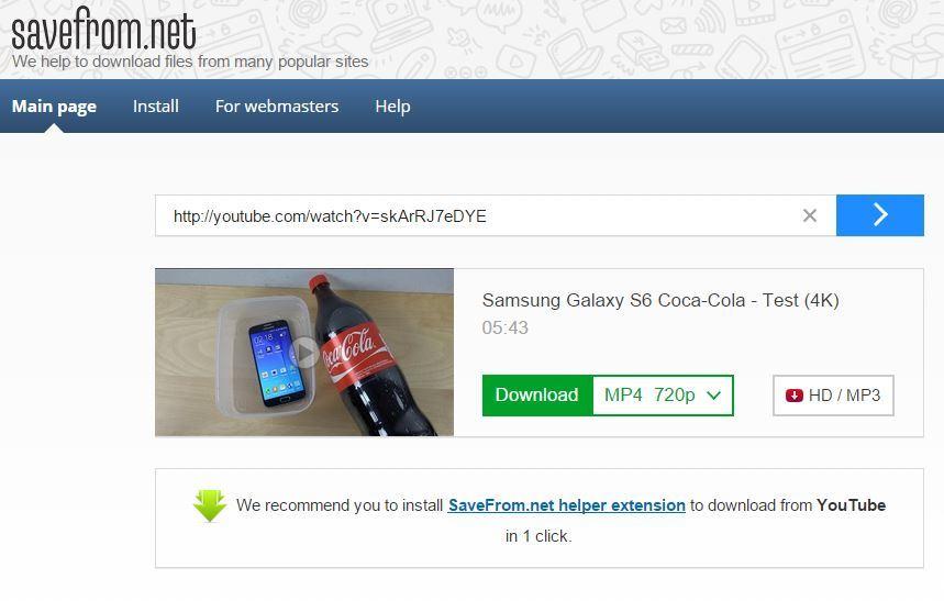 Savefrom bo poskrbel za hiter, enostaven prenos videoposnetka z YouTuba.
