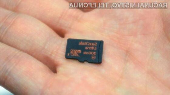 Na novo pomnilniško kartico SanDisk lahko shranimo do 20 ur videoposnetkov visoke ločljivosti.