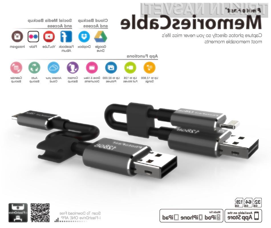 S pomnilniškim ključem USB bo prostora za shranjevan je podatkov na mobilniku iPhone več kot dovolj!