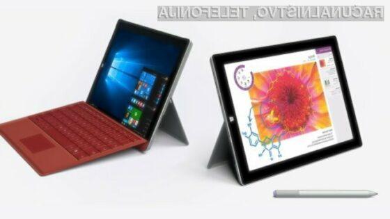 Windows 10 se odlično prilega tabličnima računalnikoma Surface 3 in Surface Pro 3.