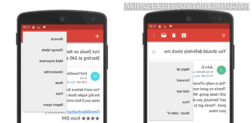 Možnost enostavnega blokiranja pošiljateljev bo kmalu omogočena tudi za uporabnike Androida!