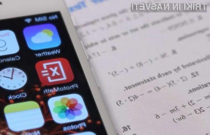 Mobilna aplikacija PhotoMath si je priljubljenost prislužila na račun enostavnosti uporabe in zanesljivega delovanja.
