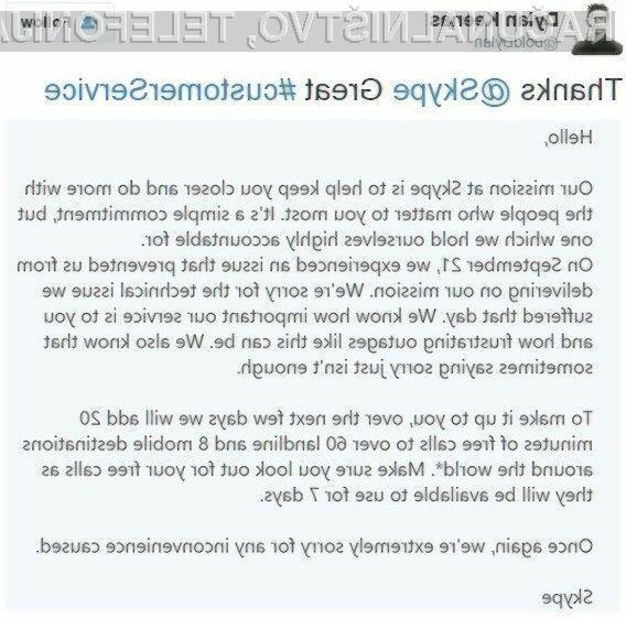 Microsoft se je za izpad storitve Skype opravičil z brezplačnimi minutami!