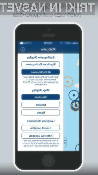Aplikacija MyShake je namenjena ljudem na območjih, ki so potresno ogrožena.