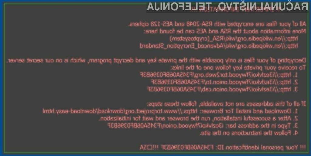 Zlonamerna koda Locky naj bi pretentala že številne uporabnike spleta.