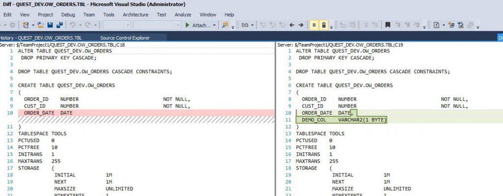 Na sliki je primer, kako preprosto poiščemo razlike med dvema verzijama programa.