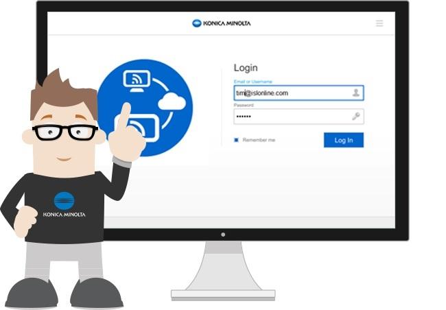 Prilagojena aplikacija za podporo na daljavo zagotavlja enotno uporabniško izkušnjo s pomočjo vizualnih elementov Konica Minolte.