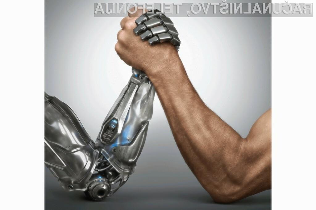 Robot na vprašanje novinarja o prevladi nad človeštvom pomirja. Ljudi namerava zgolj zapreti v živalski vrt.