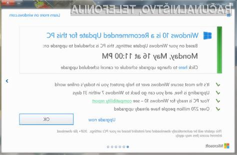 Microsoft vas bo poskušal pretentati v namestitev Windowsa 10