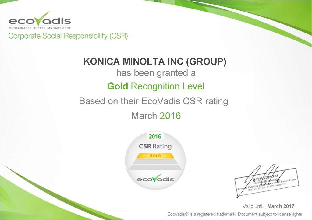 EcoVadis certifikat