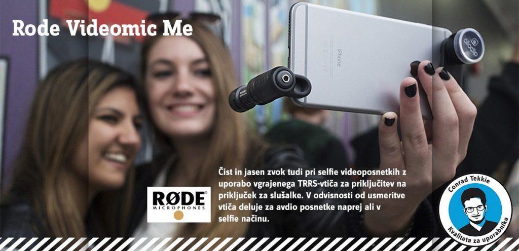 Čist in jasen zvok tudi pri selfie videoposnetkih