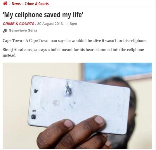 Huawei pametni telefon rešil življenje.
