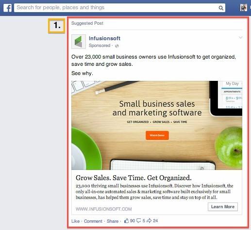 Pomen besedila pri Facebook oglasu.