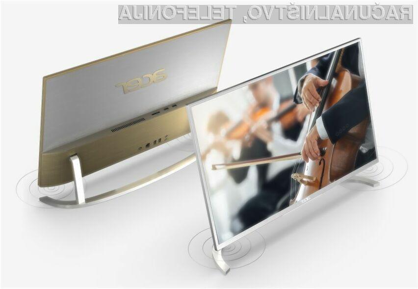 Osebni računalnik Acer Aspire C vse-v-enem navdušuje predvsem po nadvse všečni obliki.