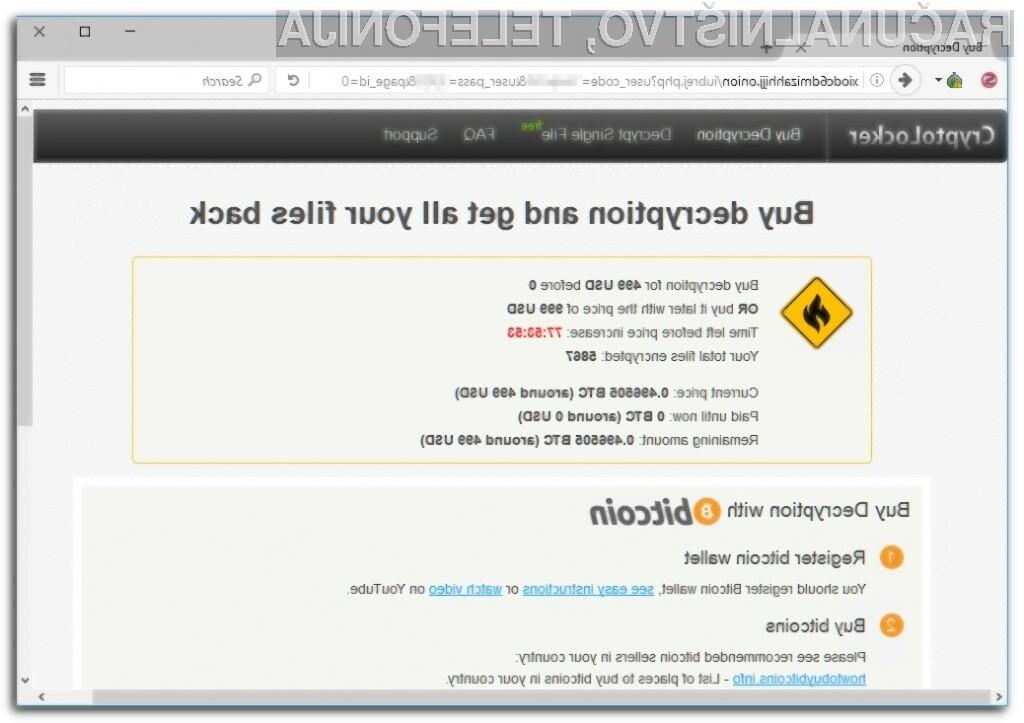 Izsiljevalski virus Crypt0L0cker vam bo v primeru okužbe zašifriral vse vaše pomembne datoteke.