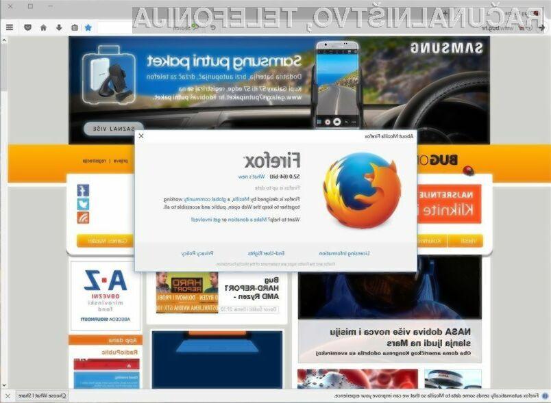 Spletni brskalnik Firefox 52 je zadnji, ki ga je mogoče namestiti na operacijska sistema Windows XP in Windows Vista!