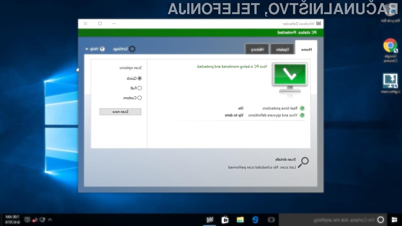 Windows vam izključi protivirusno rešitev zato, da vas opozori na Windows Defender!