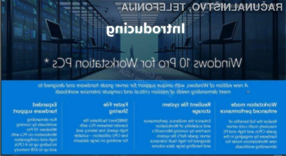 Novi Windows 10 bo povsem prilagojen delovanju delovnih postaj!
