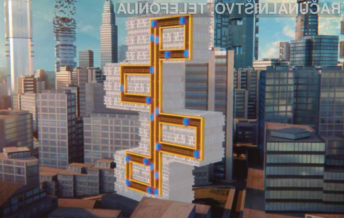 Novodobno dvigalo MULTI podjetja ThyssenKrupp lahko premika tako navzgor in navzdol kot tudi v levo in desno.