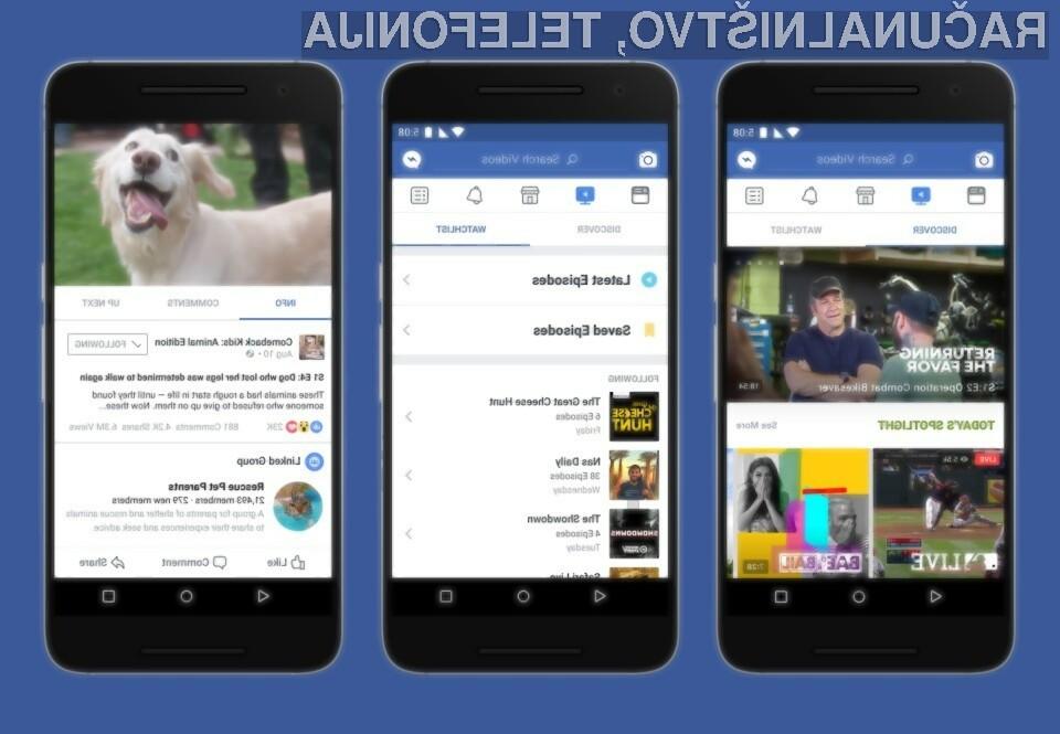 Storitev Facebook Watch bo najprej na voljo omejeni skupini uporabnikov.