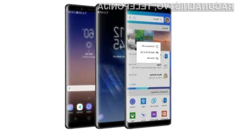 Microsoftov grafični vmesnik za Galaxy Note8 olajšuje dostop do njegovih mobilnih aplikacij.