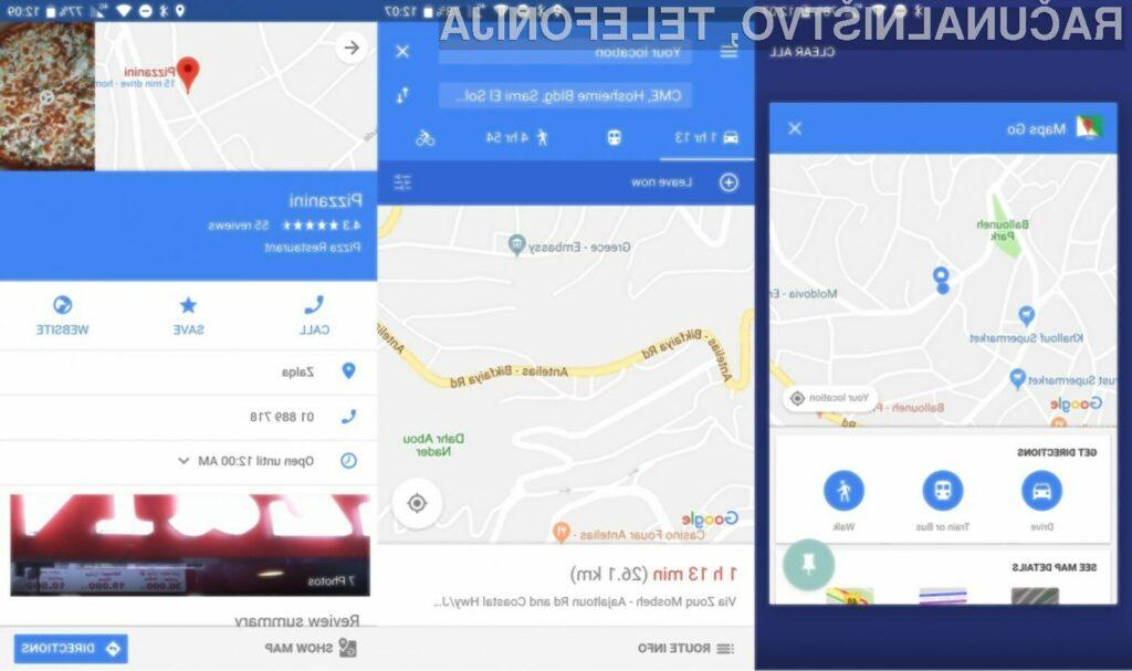 Google Maps Go lahko trenutno uporabljamo le v navezi z sistemom Android Oreo (Go Edition).