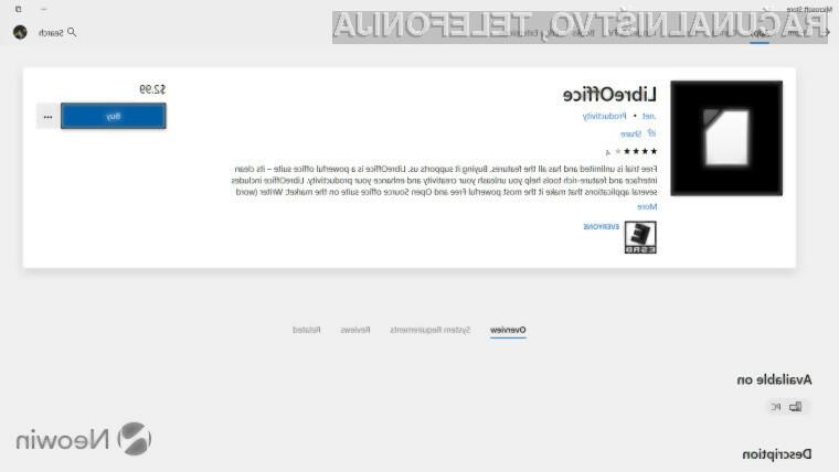 LibreOffice nepričakovano zašel na Microsoftovo spletno trgovino