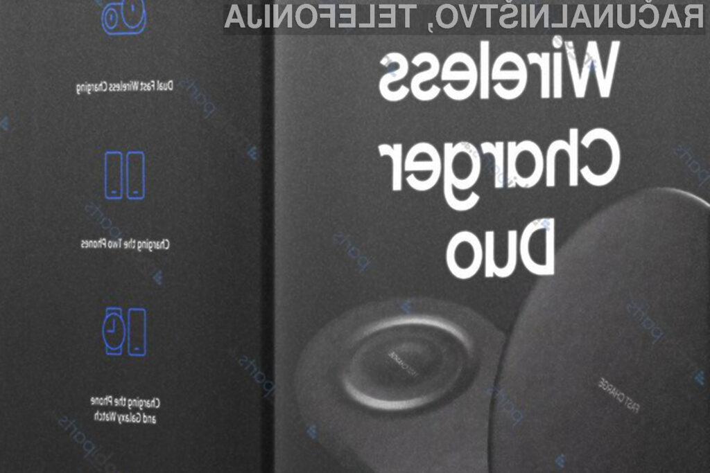 Polnilna plošča Samsung Wireless Charger Duo naj bi omogočala hitro polnjenje dveh mobilnih naprav južnokorejskega giganta.