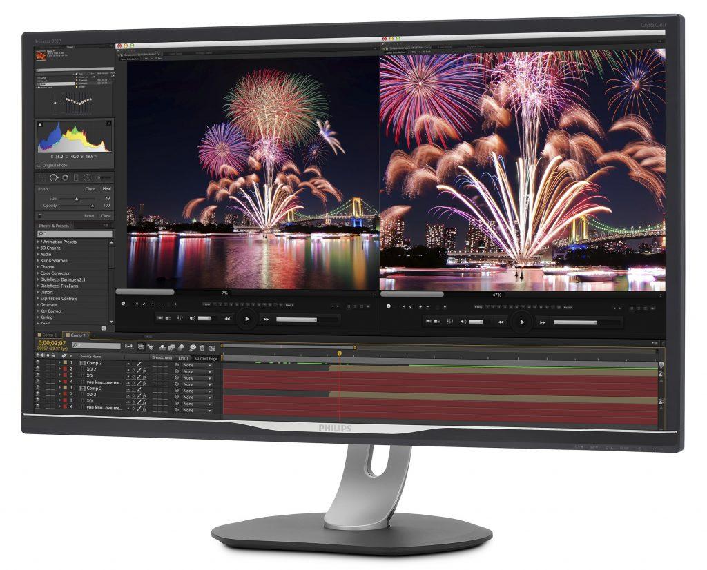 LCD monitor 32-palčni 4K UHD monitor Philips 328P6VUBREB z vgrajeno USB-C priključno postajo