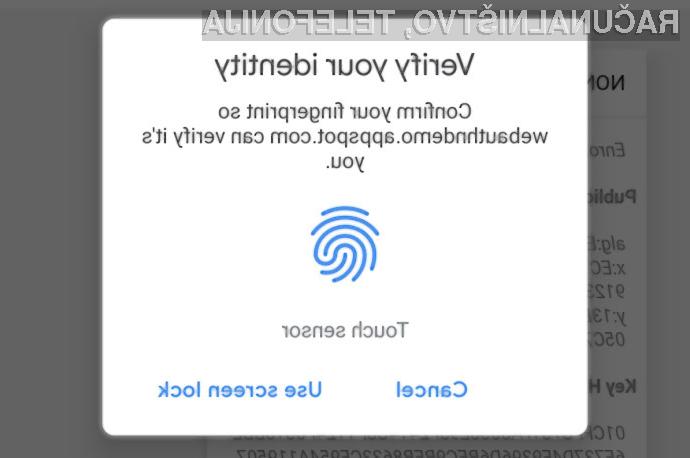 Google Chrome 70 je prvi spletni brskalnik, ki omogoča prijavo v spletne strani z uporabo prstnega odtisa.