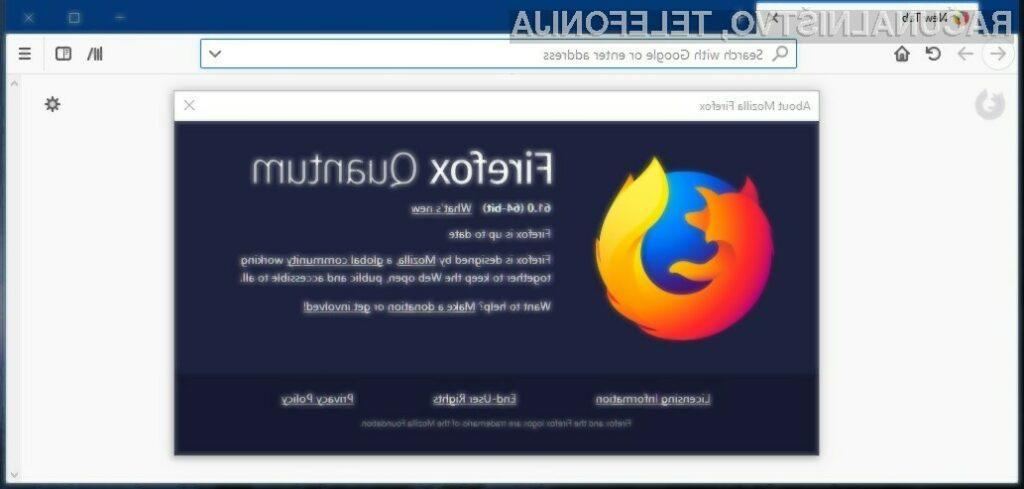 Zaradi napake lahko pride do »zrušenja« in ponovnega zagona spletnega brskalnika Firefox ali celo operacijskega sistema.